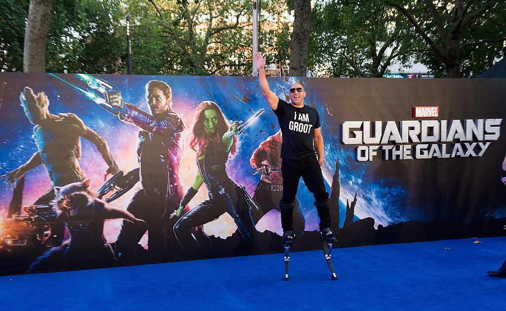 Vin Diesel attends the UK Premiere of Guardians of the Galaxy at Empire Leicester Square on July 24, 2014, in London, England.