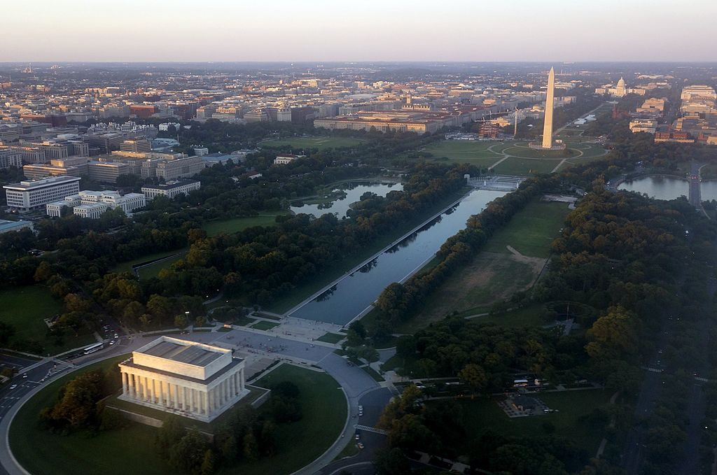 Aerial view of Washington DC