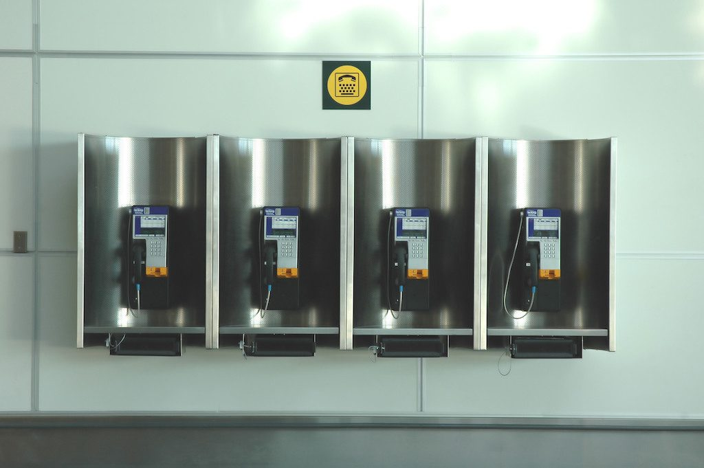 Telephones at an airport