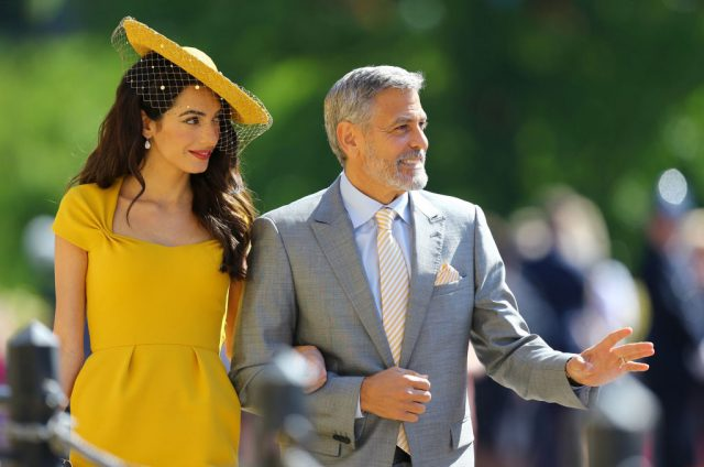 Amal and George Clooney at Prince Harry and Meghan Markle's wedding.