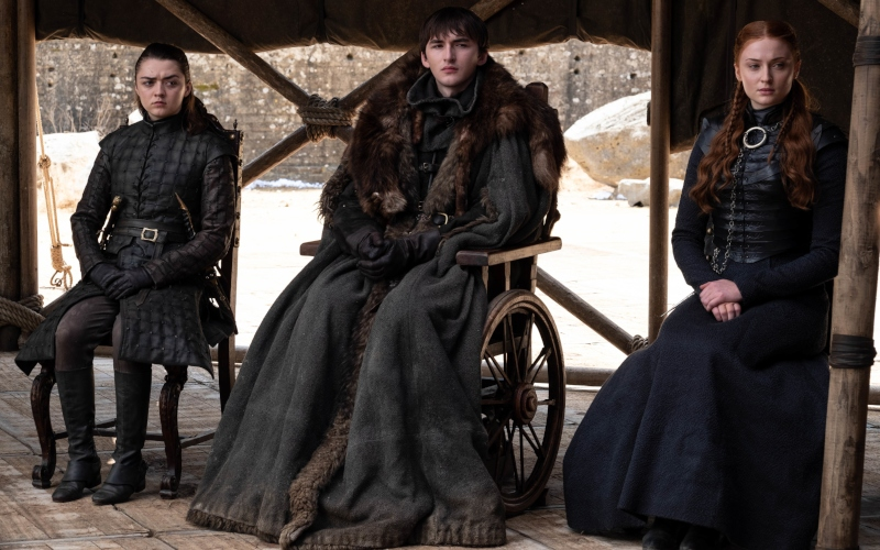 Maisie Williams as Arya, Isaac Hempstead Wright as Bran, Sophie Turner as Sansa