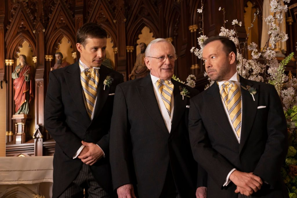 "Will Estes as Jamie Reagan Len Cariou as Henry Reagan and Donnie Wahlberg as Danny Reagan in ""Blue Bloods"""