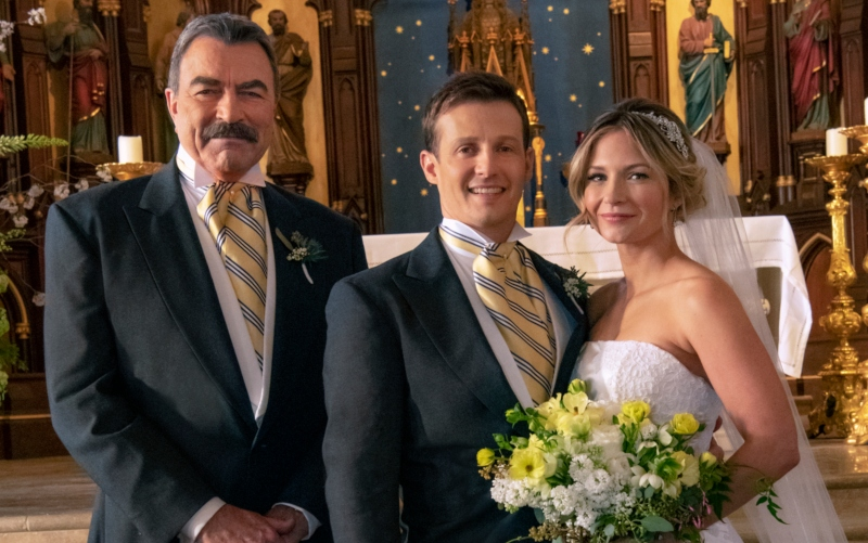 "Tom Selleck as Frank, Will Estes as Jamie, and Vanessa Ray as Eddie on ""Blue Bloods"""