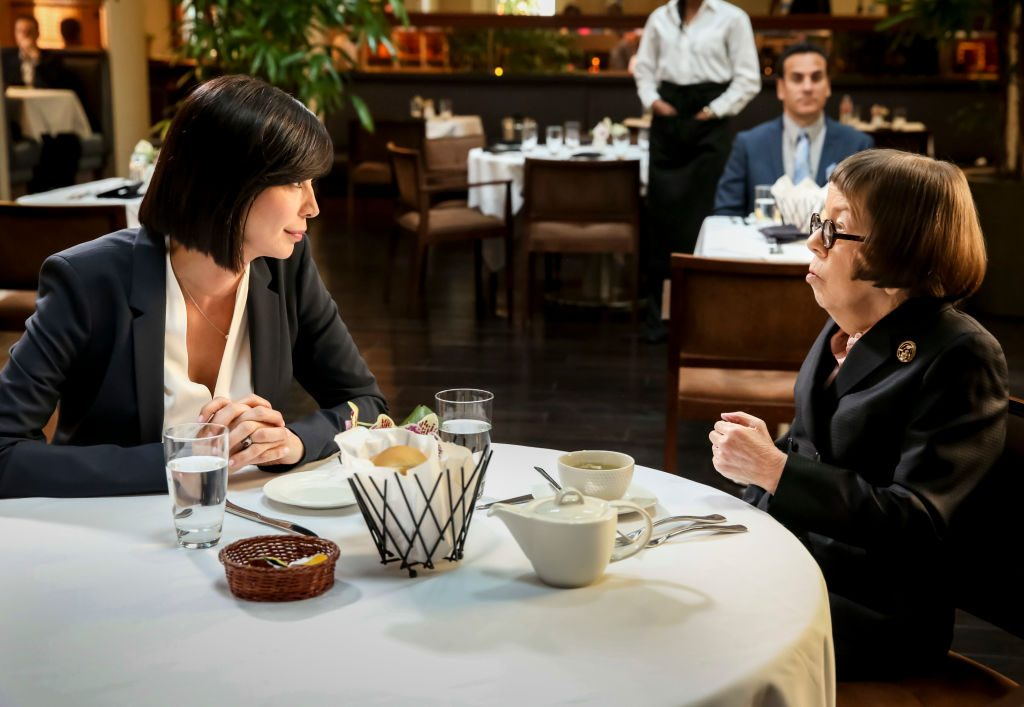 Catherine Bell with Linda Hunt on the set of NCIS: Los Angeles| Michael Yarish/CBS via Getty Images