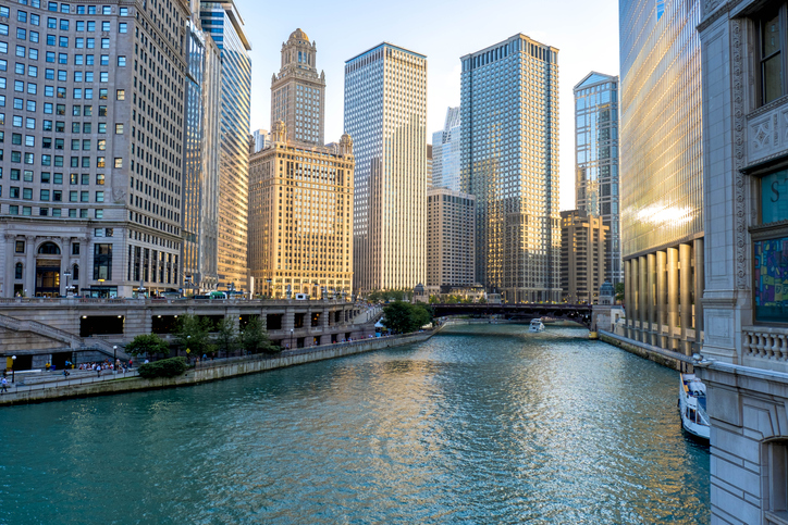 view of the Chicago River in downtown Chicago