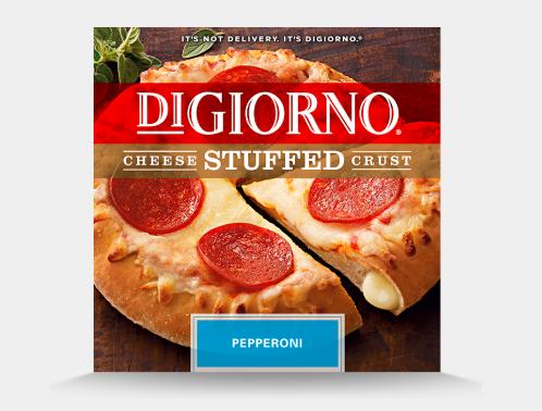 Frozen cheese stuffed crust pizza