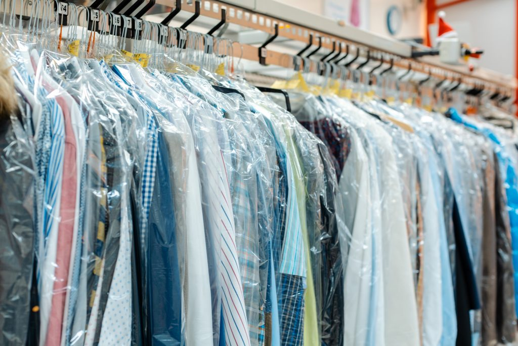 Carousel of clothing at dry cleaners