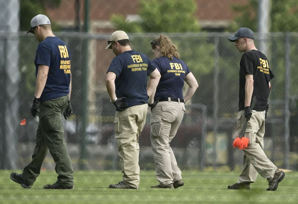 The FBI inspects a crime scene.