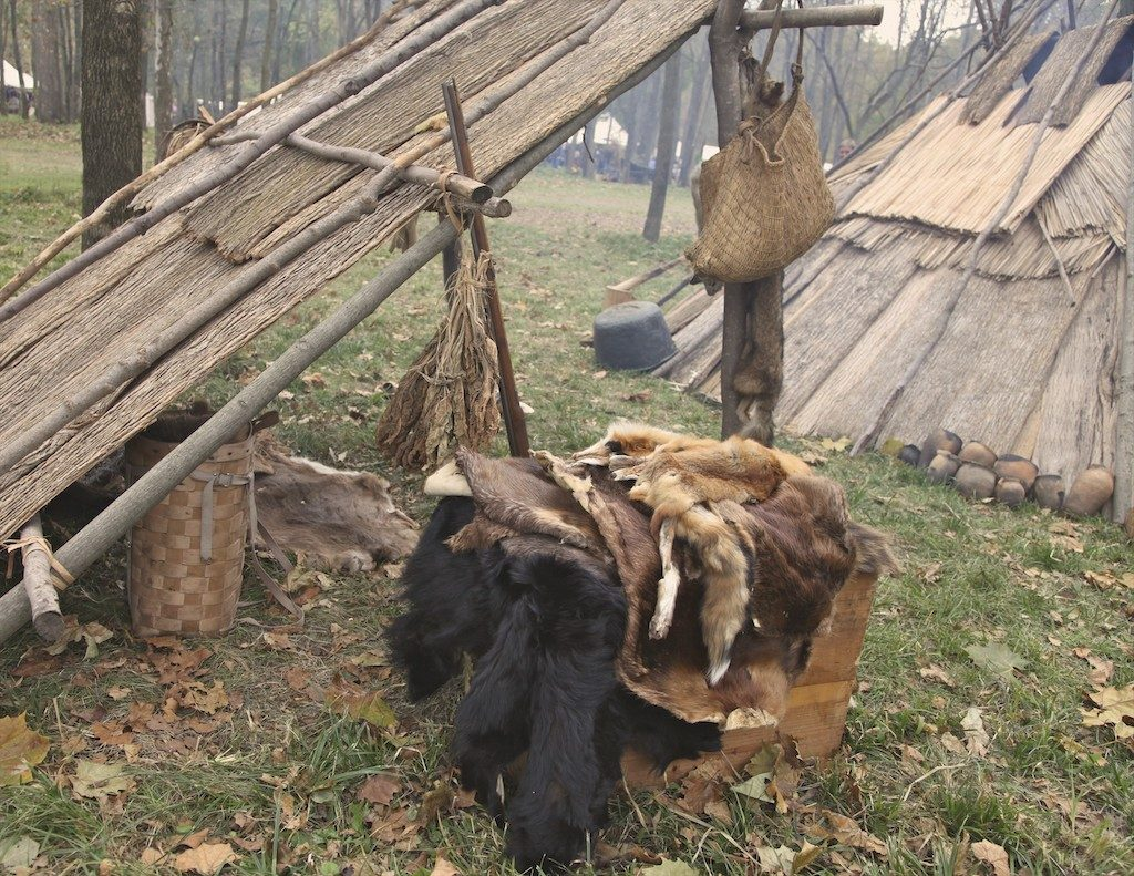 Reenacted trapper camp in Minnesota