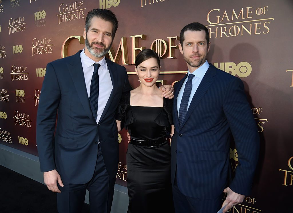 Creator/executive producer David Benioff, actress Emilia Clarke and creator/executive producer D.B. Weiss | Jeff Kravitz/FilmMagic for HBO