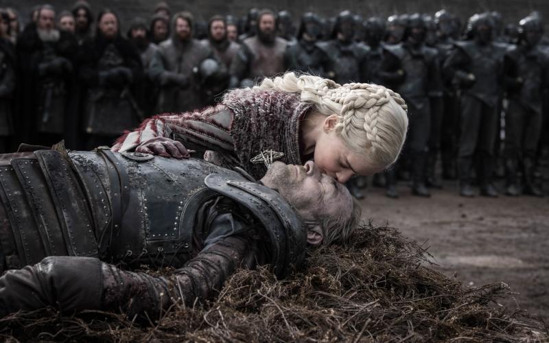 Emilia Clarke as Daenerys Targaryen and Iain Glen as Ser Jorah
