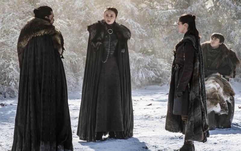 Hit Harington as Jon Snow, Sophie Turner as Sansa Stark, Maisie Williams as Arya, Isaac Hempstead Wright as Bran