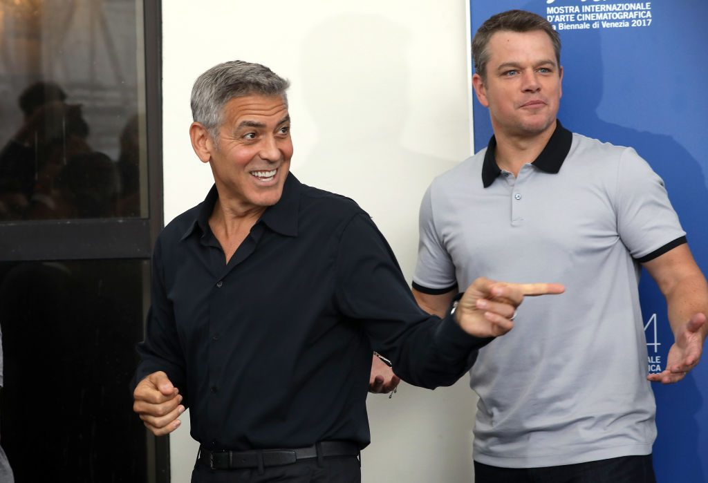 Actors Matt Damon and George Clooney
