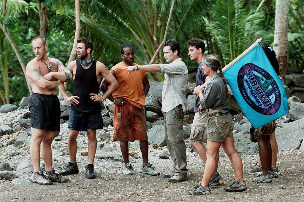 Season 4 contestants with Probst on Marquesas Islands