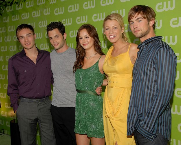 Cast of 'Gossip Girl.' (L-R): Ed Westwick, Penn Badgley, Leighton Meester, Blake Lively, and Chace Crawford.