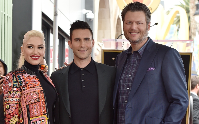 Gwen Stefani, Adam Levine, and Blake Shelton