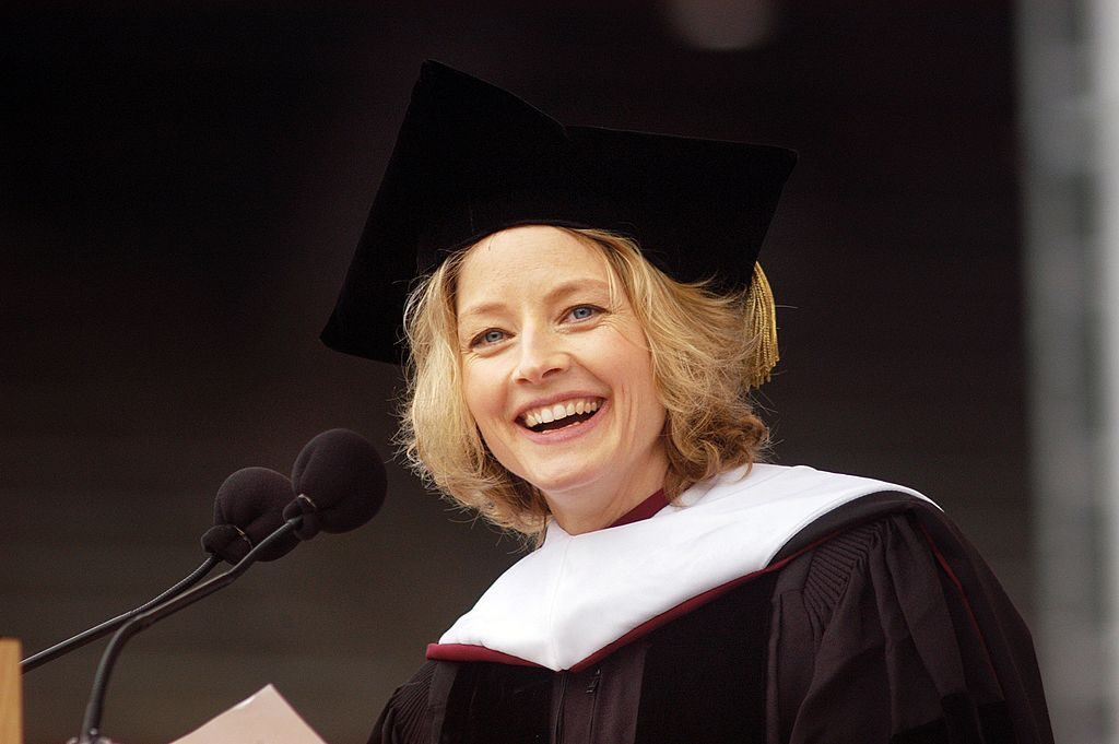 Jodie Foster speaks at a commencement.