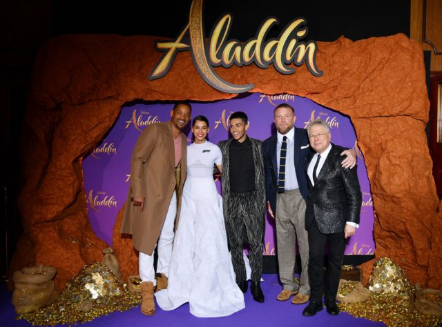 "Will Smith, Naomi Scott, Mena Massoud, Guy Ritchie and Alan Menken attend the ""Aladdin"" gala screening at Le Grand Rex"