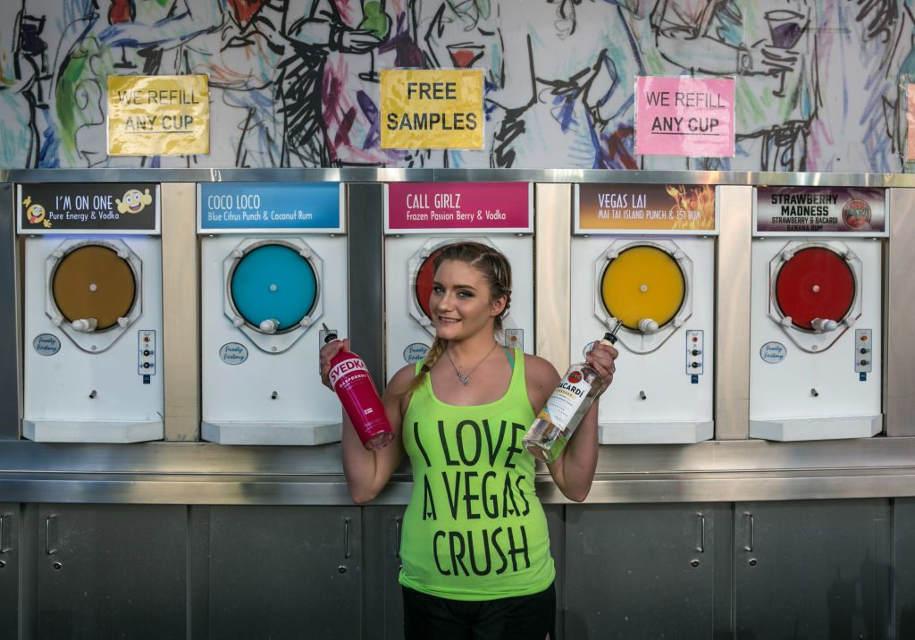 A woman sells alcoholic crushed ice drinks in Las Vegas, Nevada.