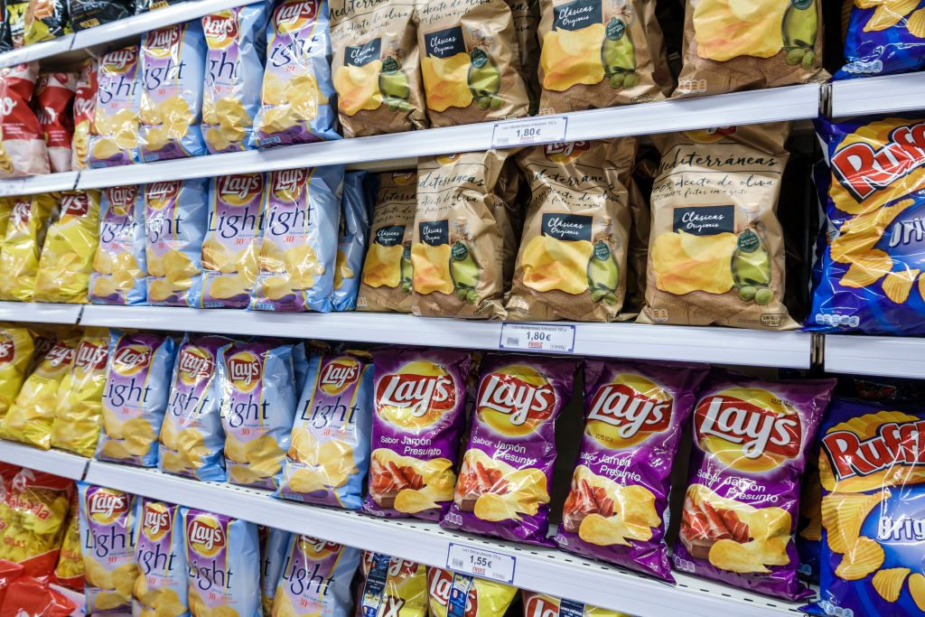 Potato chips in a store