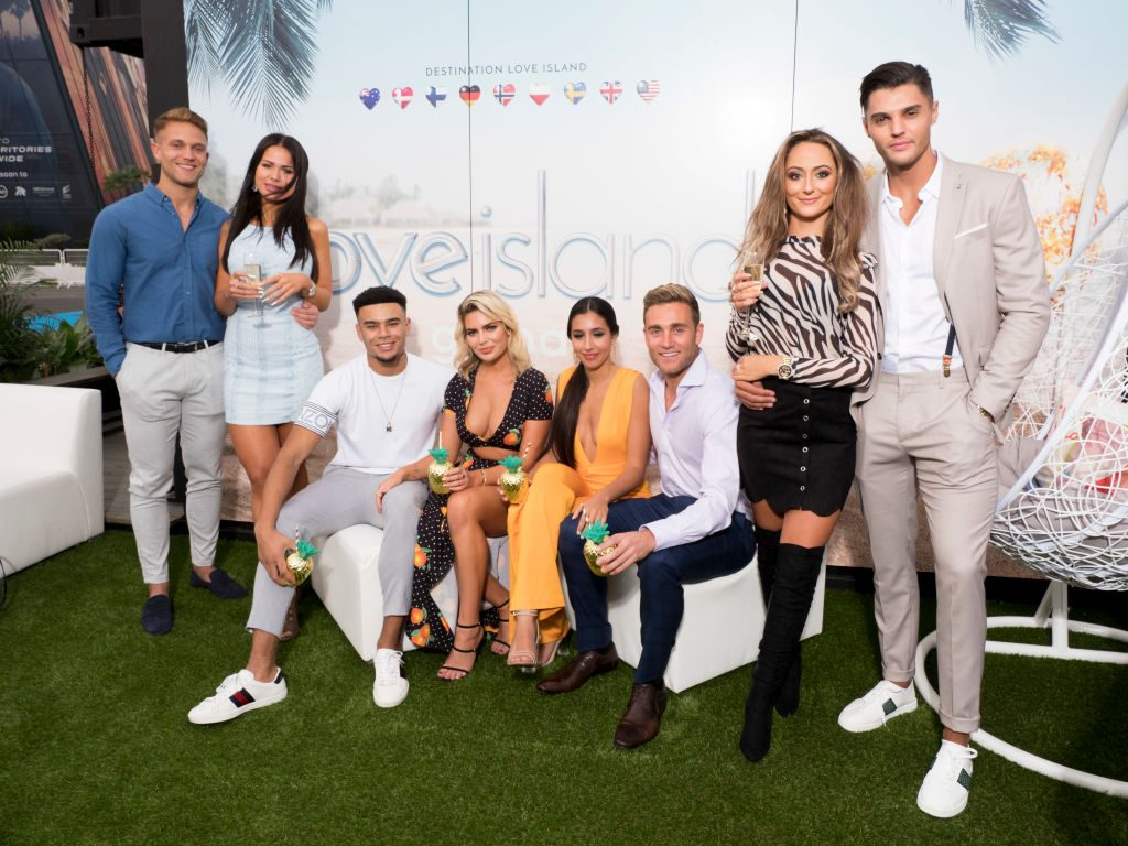 """Victoria Eklund and Jacob Olsson from Sweden, Megan Barton-Hanson and Wes Nelson from UK, Josh Moss and Amelia Marni from Australia and Marcellino Kremers and Tracey Candela from Germany attend the """"Love Island"""""""