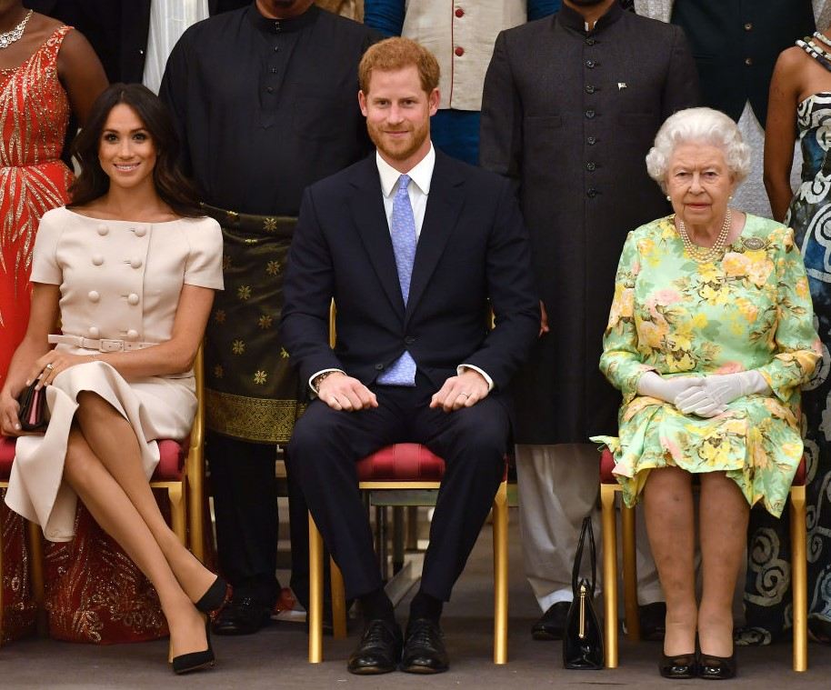 Meghan Markle, Prince Harry, and Queen Elizabeth II
