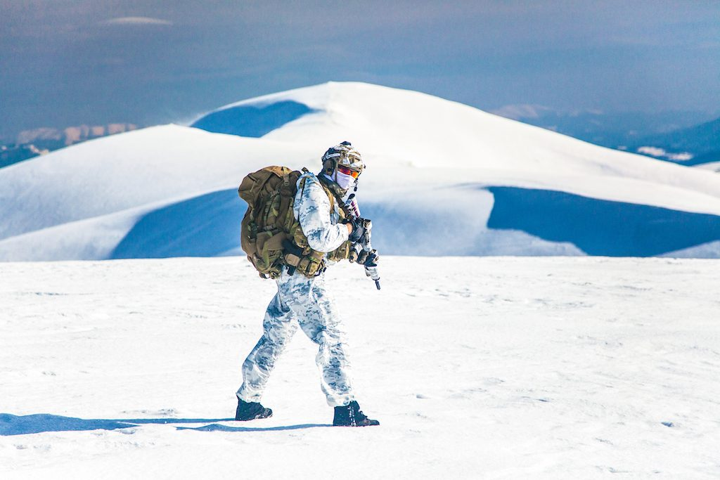 Winter arctic army soldier