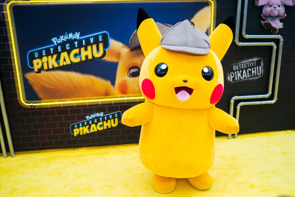 Pokemon character, Pikachu, at premiere of 'Detective Pikachu.'