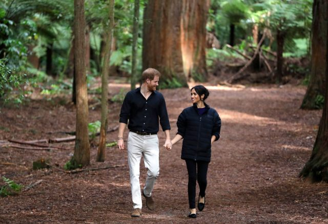 Prince Harry and Meghan Markle walking through Redwoods