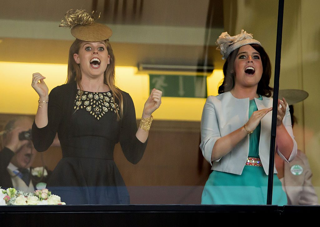 Princess Beatrice and Princess Eugenie cheer Queen Elizabeth II's horse