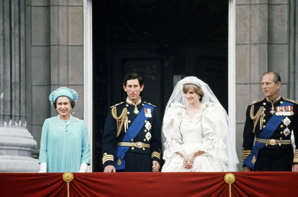 Queen Elizabeth II, Prince Charles, Princess Diana, and Prince Philip
