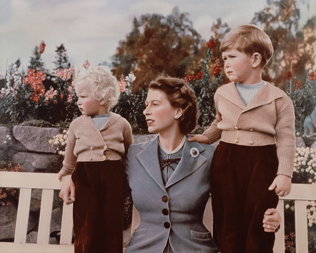 Queen Elizabeth with Prince Charles and Princess Anne