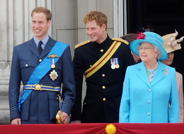 Prince William, Prince Harry, and Queen Elizabeth