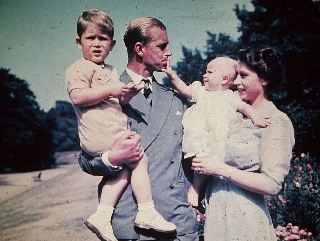 Queen Elizabeth and Prince Philip with Prince Charles and Princess Anne