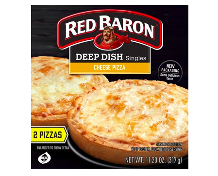 Deep dish frozen pizza