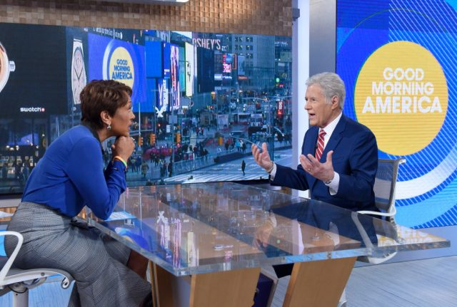 Robin Roberts interviewing Alex Trebek on 'Good Morning America.'
