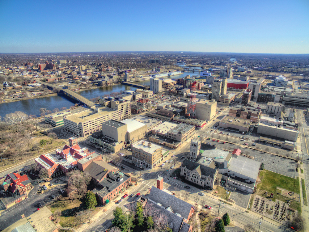 An aerial view of Rockford, IL