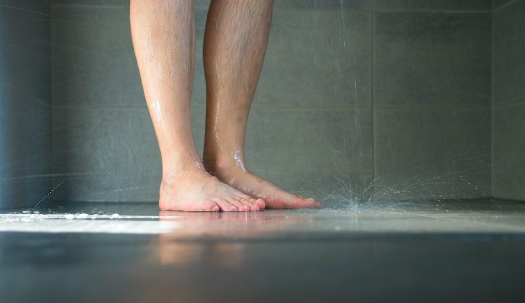 Wet legs in a shower
