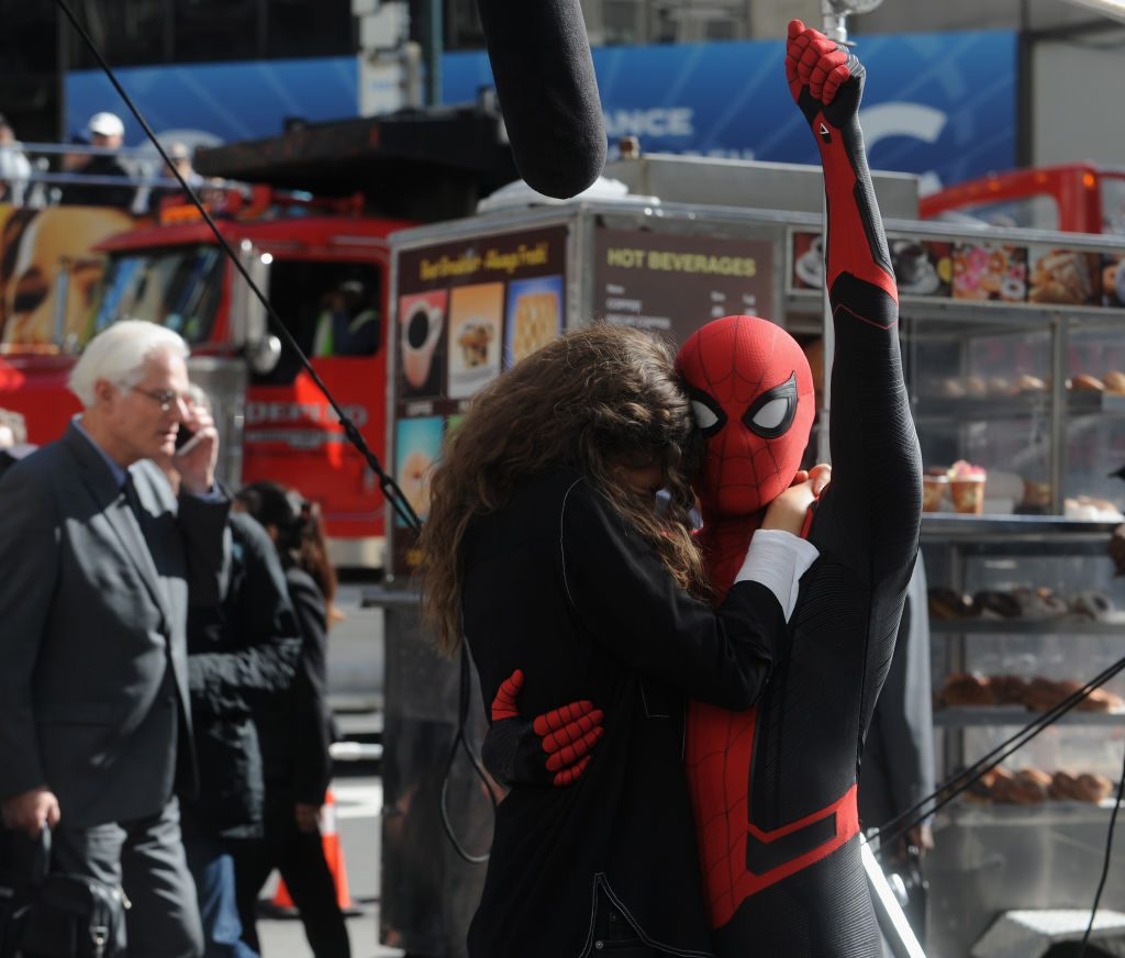 "Tom Holland and Zendaya on the set of ""Spiderman: Far From Home"""