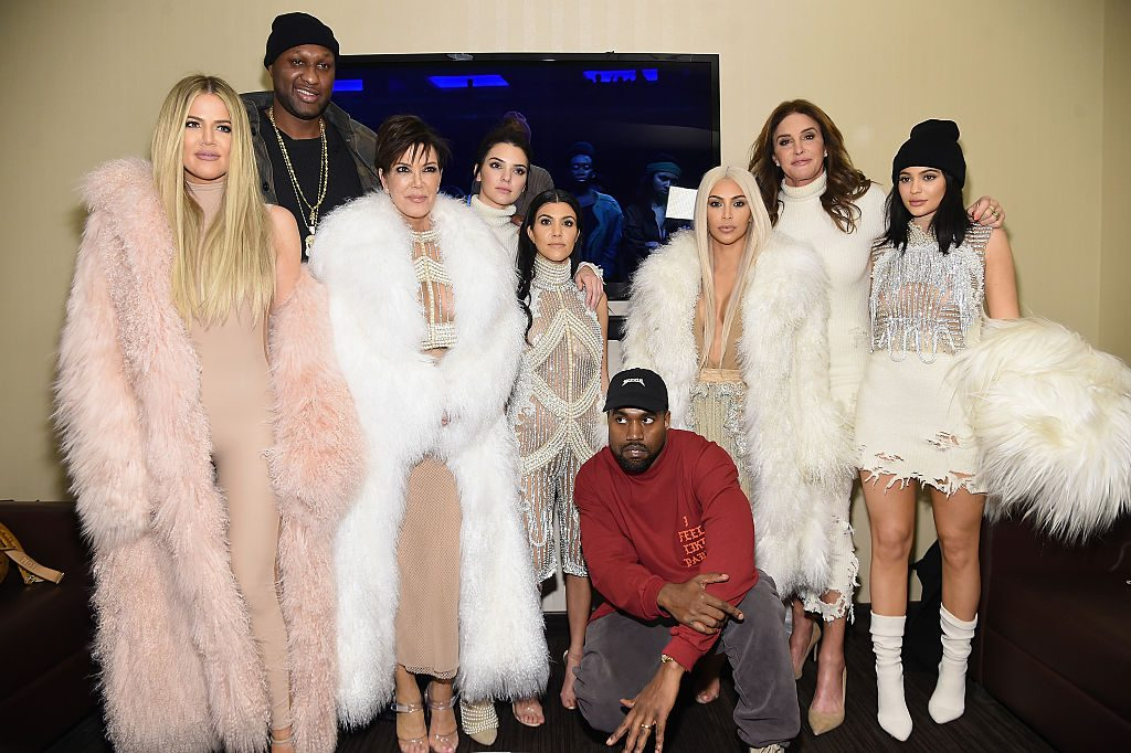 Khloe Kardashian, Lamar Odom, Kris Jenner, Kendall Jenner, Kourtney Kardashian, Kanye West, Kim Kardashian, Caitlin Jenner and Kylie Jenner attend Kanye West Yeezy Season 3 on February 11, 2016 in New York City. | Photo by Jamie McCarthy/Getty Images for Yeezy Season 3