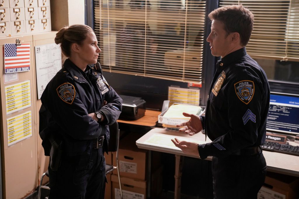Vanessa Ray and Will Estes on set of Blue Bloods|Patrick Harbron/CBS via Getty Images
