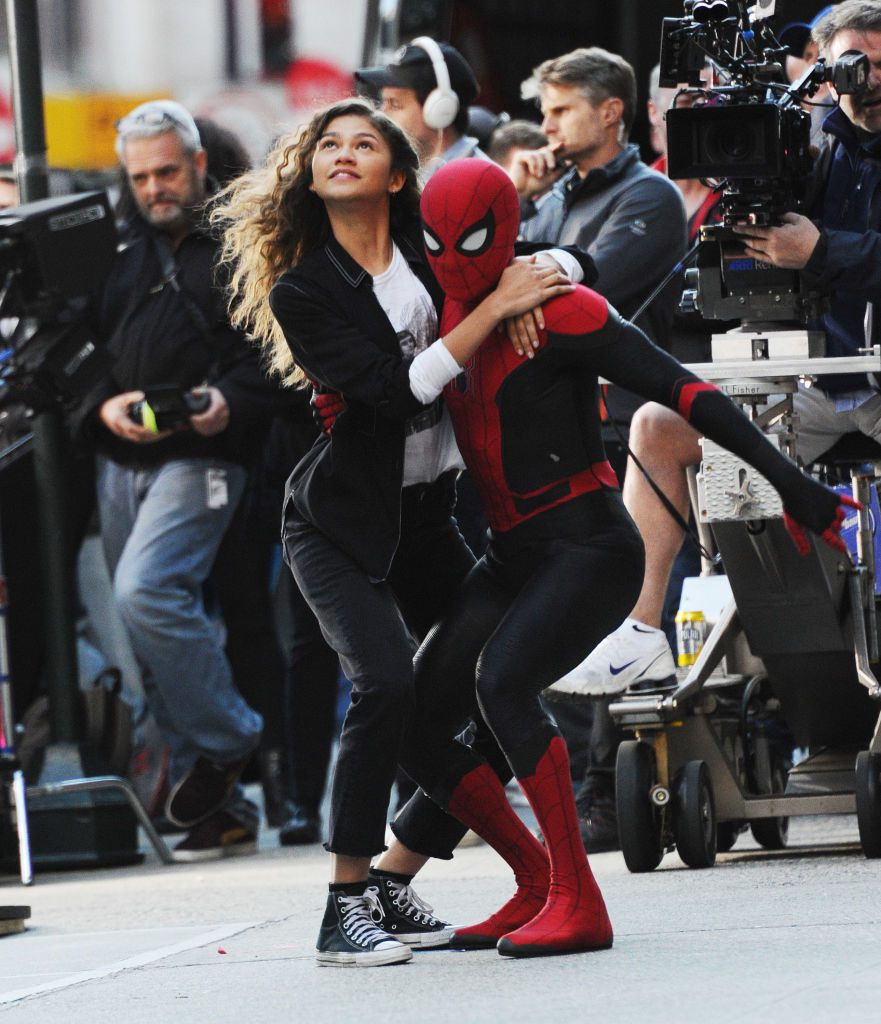 Tom Holland (R) and Zendaya are seen on the streets of Manhattan