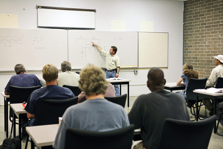 Students in an adult education class