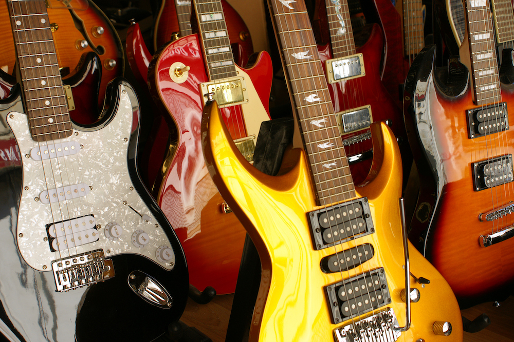 A group of electric guitars