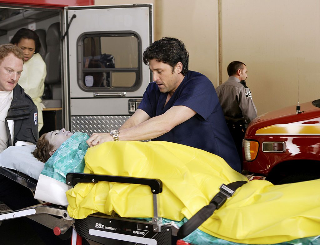 Patrick Dempsey as Derek Shepherd and Ellen Pompeo as Meredith Grey on Grey's Anatomy