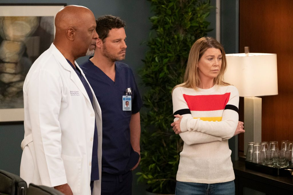James Pickens Jr. as Richard Webber, Justin Chambers as Alex Karev, and Ellen Pompeo as Meredith Grey on Grey's Anatomy