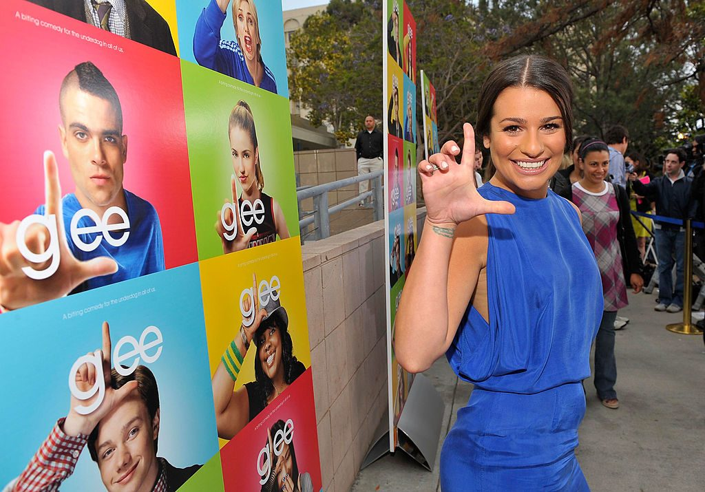 Actor Lea Michele attends the Glee premiere event screening at Santa Monica High School on May 11, 2009, in Santa Monica, California.