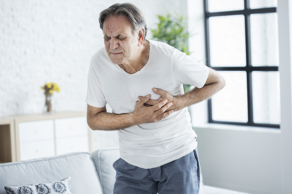 Man experiencing a heart attack