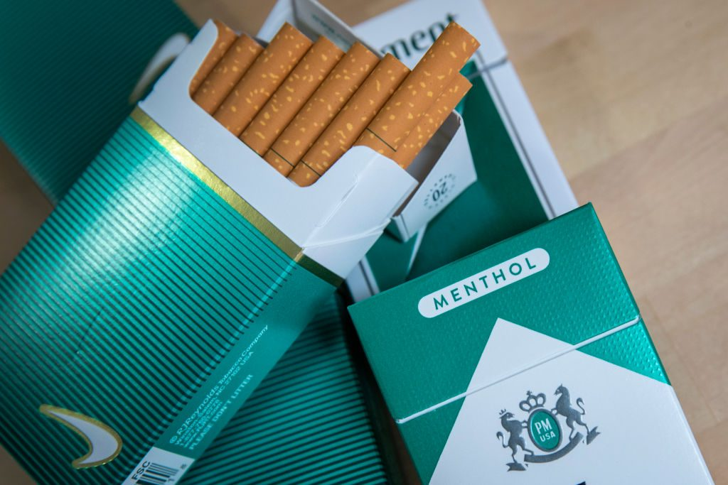 Packs of menthol cigarettes