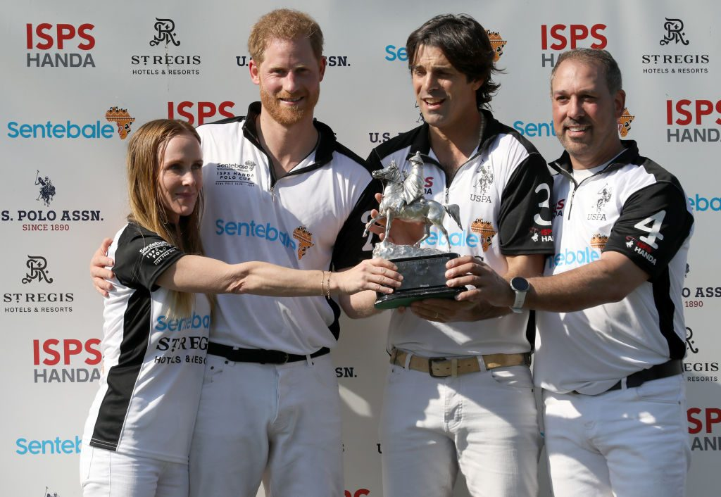 Sarah Siegel Magdness, The Duke of Sussex Prince Harry, Nacho Figueras and Michael Carrazza of Sentebale St. Regis presents the Sentebale Polo 2019 trophy at Roma Polo Club